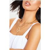 Gold Double Chain Hoop Necklace